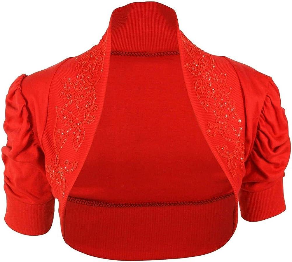 New Womens Beaded Ruched Puff Short Sleeve Crop Cardigan Cotton Bolero Shrug Top