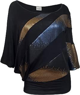 eVogues Plus Size Sequin Detail Diagonal Hem Scoopneck Top