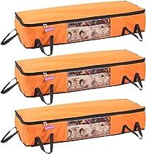Prettykrafts Long Underbed Storage Bag, Storage Organizer, Blanket Cover with Side Handles (Set of 3 pcs) - Orange