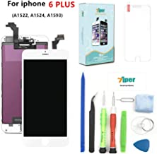 Screen Replacement Compatible iPhone 6 Plus (5.5 inch) - LCD Display Touch Screen Digitizer Frame Replacement Full Assembly with Tempered Glass, Repair Tools Kit and Instructions (White)