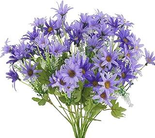 GTIDEA Fake Flowers Outdoor 4PCS Artificial Silk Daisy Flower Bundle Faux Bride Bouquet Indoor Outside Home Office Wedding Table Centerpiece Arrangements Decor Purple