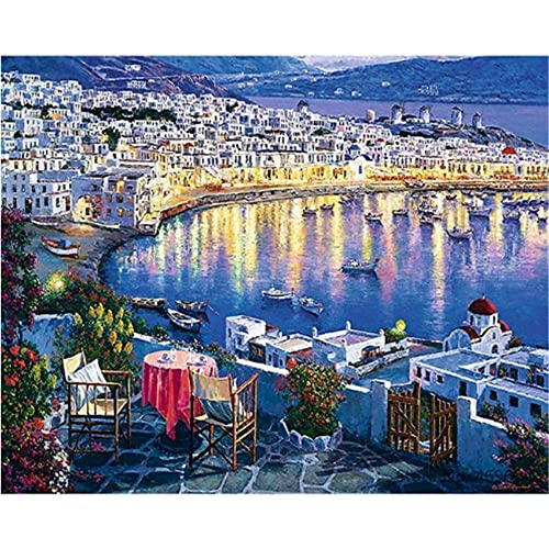 NA/ Painting by Numbers Adults Beach Tables and Chairs DIY Oil Painting Canvas Children and Beginners with Brush Painting Kit Decoration Wall Art Gift - 40x50cm(Frameless)