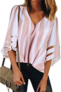2522e8c0a7 BLENCOT Womens 3 4 Bell Sleeve V Neck Lace Patchwork Blouse Casual Loose  Shirt Tops
