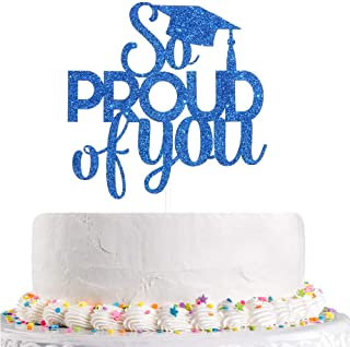 Talorine Blue Glitter So Proud of You Cake Topper, Congrats Grad, Senior, High School Graduation Party Decorations