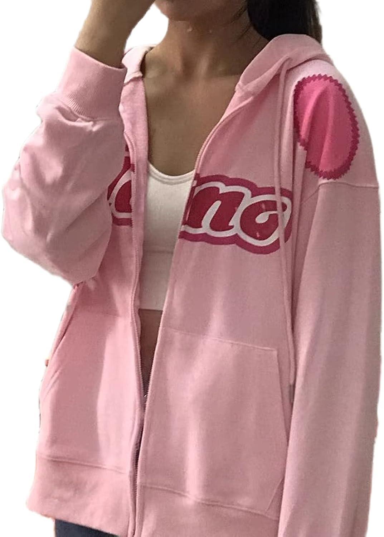 Women Graphic Printed Oversized Y2K Sweatshirt Zip Up Long Sleeve Hoodies Aesthetic Jacket Streetwear with Pockets