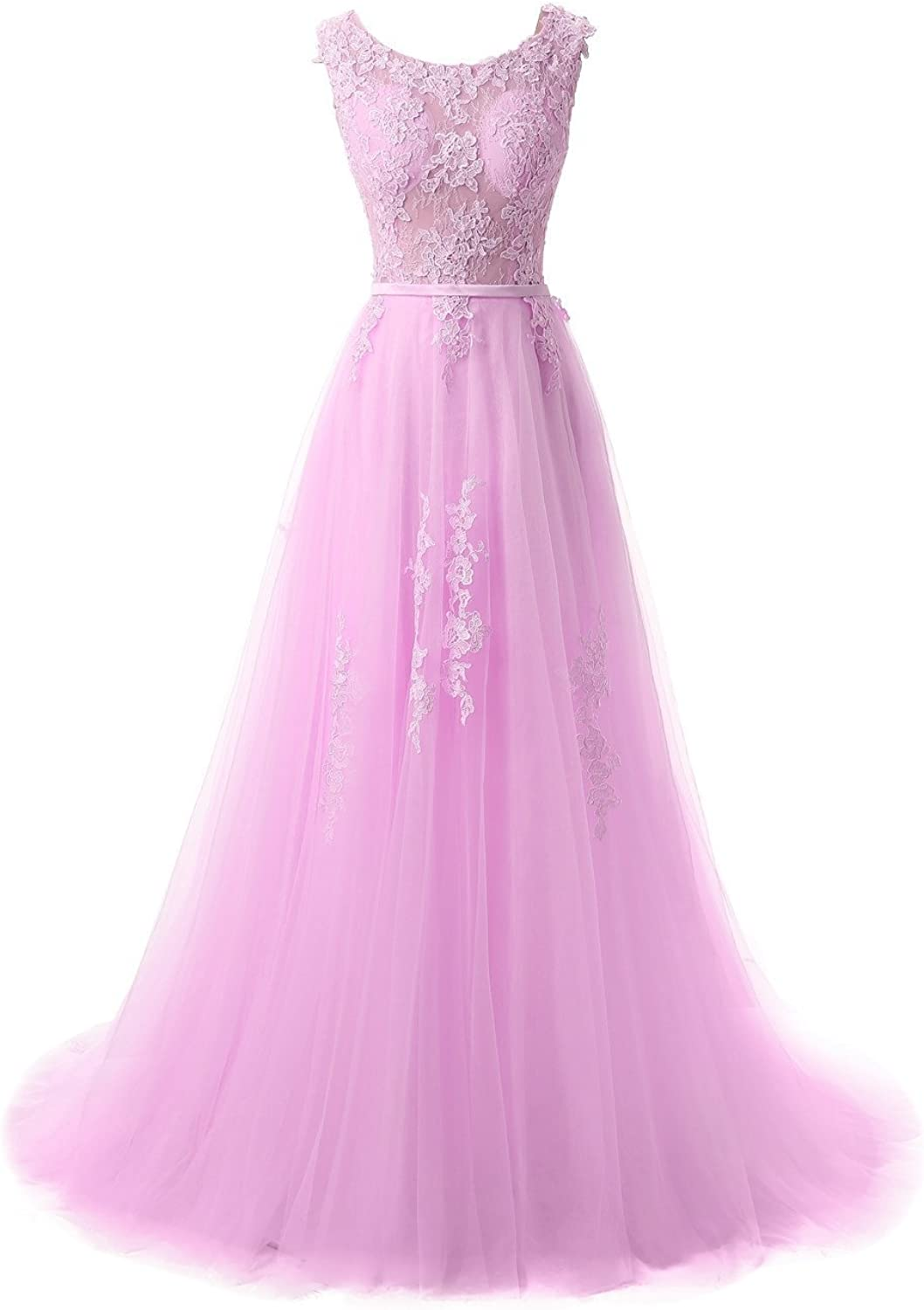 DressyMe Women's Tulle Wedding Dresses Prom Gown Aline RoundNeck