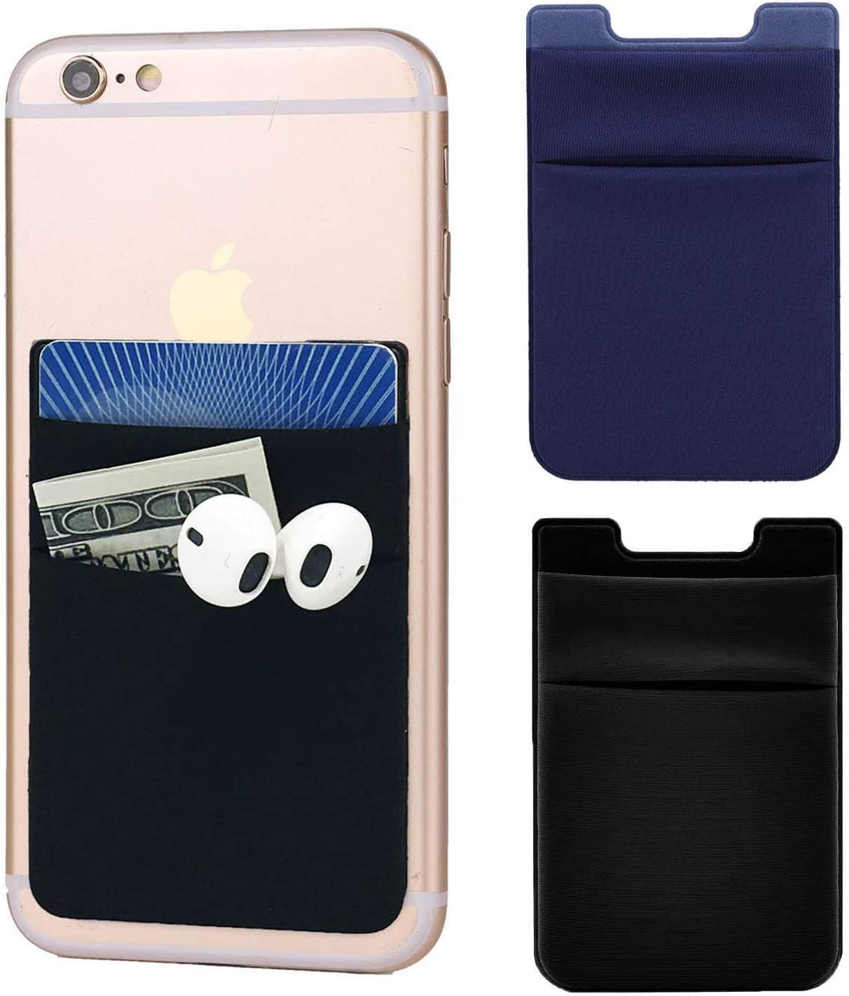 2Pack Adhesive Phone Pocket,Cell Phone Stick On Card Wallet,Credit Cards/ID Card Holder(Double Secure) with 3M Sticker for Back of iPhone,Android and All Smartphones-Double Pocket(1Black&1Navy Blue)