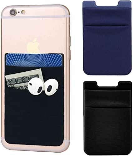 2Pack Adhesive Phone Pocket,Cell Phone Stick On Card Wallet,Credit Cards/ID Card Holder(Double Secure) with 3M Sticke...