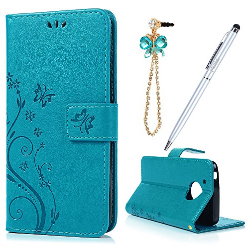 MAXFE.CO Motorola MOTO G5 Case Butterfly & Flower Embossed Sturdy PU Leather Case Cover Flip Stand Wallet Case for MOTO G5 with Card Holder & Hand Strap + One Touch Pen + One Dust Plug, Blue