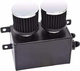 1200ml 1.2L Twin Baffle Dual Filter Engine Oil Catch Can Tank Reservoir AN8 (Black)