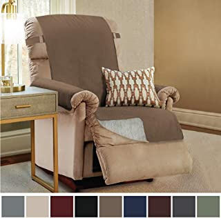 Gorilla Grip Original Slip Resistant Recliner Protector for Seat Width up to 26 Inch, Patent Pending Suede-Like Furniture Slipcover, 2 Inch Straps, Reclining Chair Slip Cover Throw for Dogs, Latte