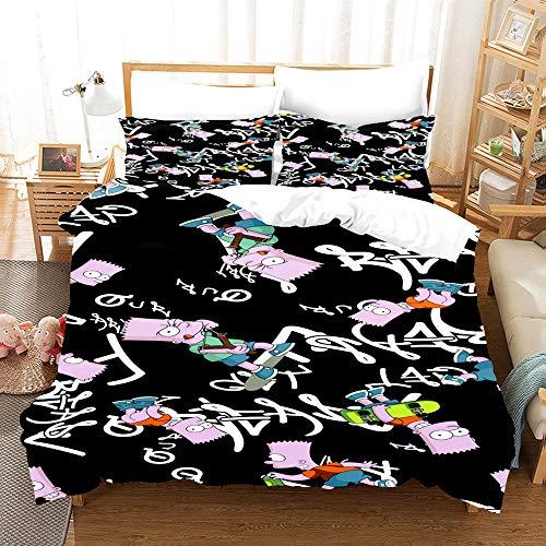 QIAOJIN Simpson - Juego de ropa de cama de 3 piezas para niños, 100% microfibra 3D Anime Printed funda nórdica y funda de almohada para niños y niñas (j,140 x 210)