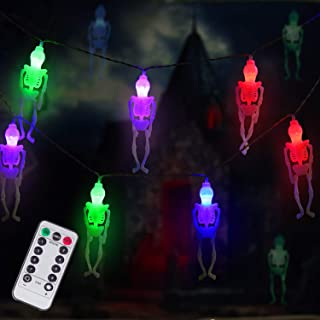 Ghost Skeleton Lights Halloween String Lights, 15 LED Battery-Powered Remote-Control Halloween Decoration for Outdoor, Indoor, Garden, Yard, Tree, Party (Multicolor)