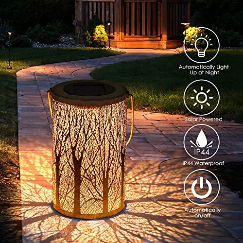 Jardín al aire libre lámpara, Tencoz llevó la linterna solar, luces marroquíes silueta solar luces colgantes LED Luz solar del jardínimpermeable patio iluminado [clase de energía A +] (Tape-3)