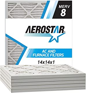 Aerostar 14x14x1 MERV 8 Pleated Air Filter, Made in the USA, 6-Pack