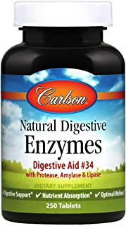 Carlson - Natural Digestive Enzymes, Digestive Aid #34 with Protease, Amylase & Lipase, Digestive Support, Nutrient Absorp...