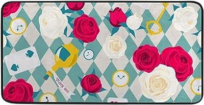 Kuizee Kitchen Rug Kitchen Mat Roses Card Key Clock Alice in Wonderland Blue Bathroom Rug Hallway Entry Rugs Non Slip Soft Water Absorbent 39×20 Inch