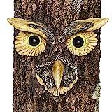 Bits and Pieces - Eule Baumgesicht - Uhu Kauz Baumdeko zum Hängen - Gartendeko - 3 Teile mit nachtleuchtenden Augen - aus Kunstharz, mit Leuchtfarbe