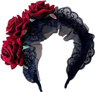 Kangkang@ Hot Sale Gothic Five Roses Hair Band Women Fashion Devil Brand Flower Elastic Headband Black Rose Headwear Accessories