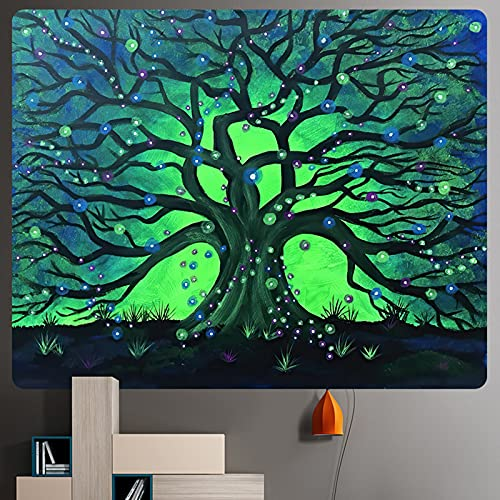 JIPMFYA tapizMisterioso Árbol de la Vida tapicería de decoración para el hogar Mandala psicodélico Muro de Escena Tapiz decoración sofá Manta Yoga Mat