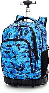 Maleta cabina trolley bolsa para mujer o hombre, regalo de vuelta a la escuela, mochila con ruedas, maleta, equipaje, cabina, viaje, escuela, bolso para niño o niña, deporte, H (Azul) - DYMY-TRO-15-08