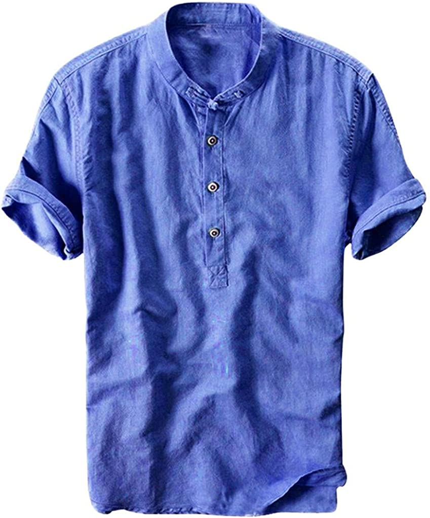 KEEYO Mens Cotton Linen Henley Shirts Roll-up Short Sleeve Hippie Casual Beach T-Shirts Stylish Yoga Loose Fit Henley Tops