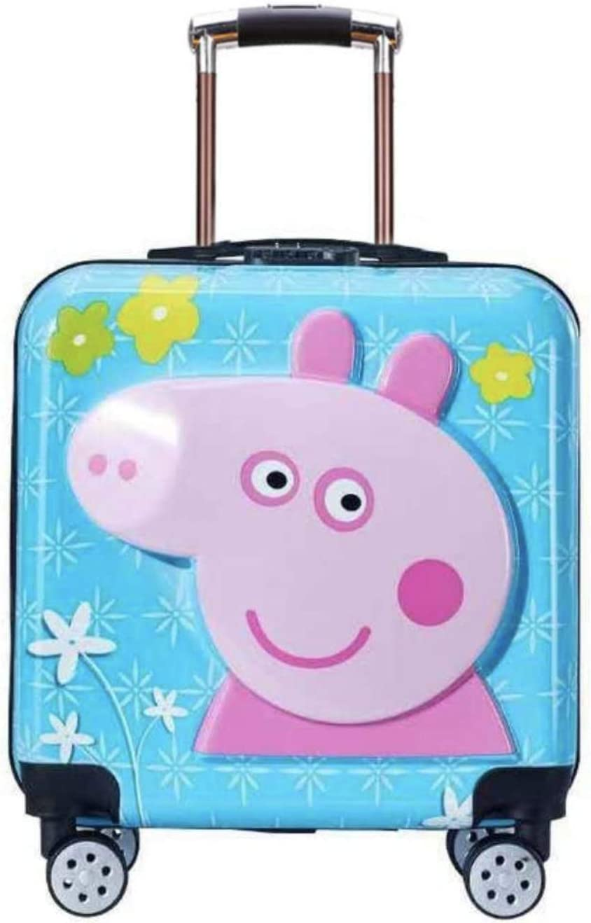 Peppa Pig Travel luggage with universal wheel Blue, Peppa Pig 20 3D cartoon Trolley case Travel luggage for kids