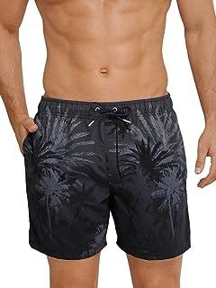 Schiesser Men's Aqua Swimming Shorts, Black (Blue-Black 001), S-Smal (Manufacturer Size: 004)