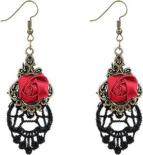 YAZILIND Retro Style Lace Baumeln Rote Rose Blume Ohrring Halskette Stilvolle Schmuck Für Frauen Geschenkidee