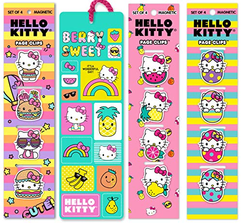 Re-marks Hello Kitty Foodie Bookmark Gift Set of 13 Bookmarks - 12 Unique Magnetic Page Clips and 1 Tassel Bookmark