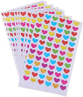 Toyvian 720pcs Heart Stickers Sheets Colorful Self-Adhesive Heart Reward Stickers Glitter Heart Labels Toys for Teens Students Kids Teachers