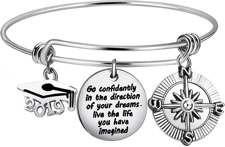 Gleamart Graduation Gifts for Her Cap Bangle Bracelet Inspirational Gifts for Women Men