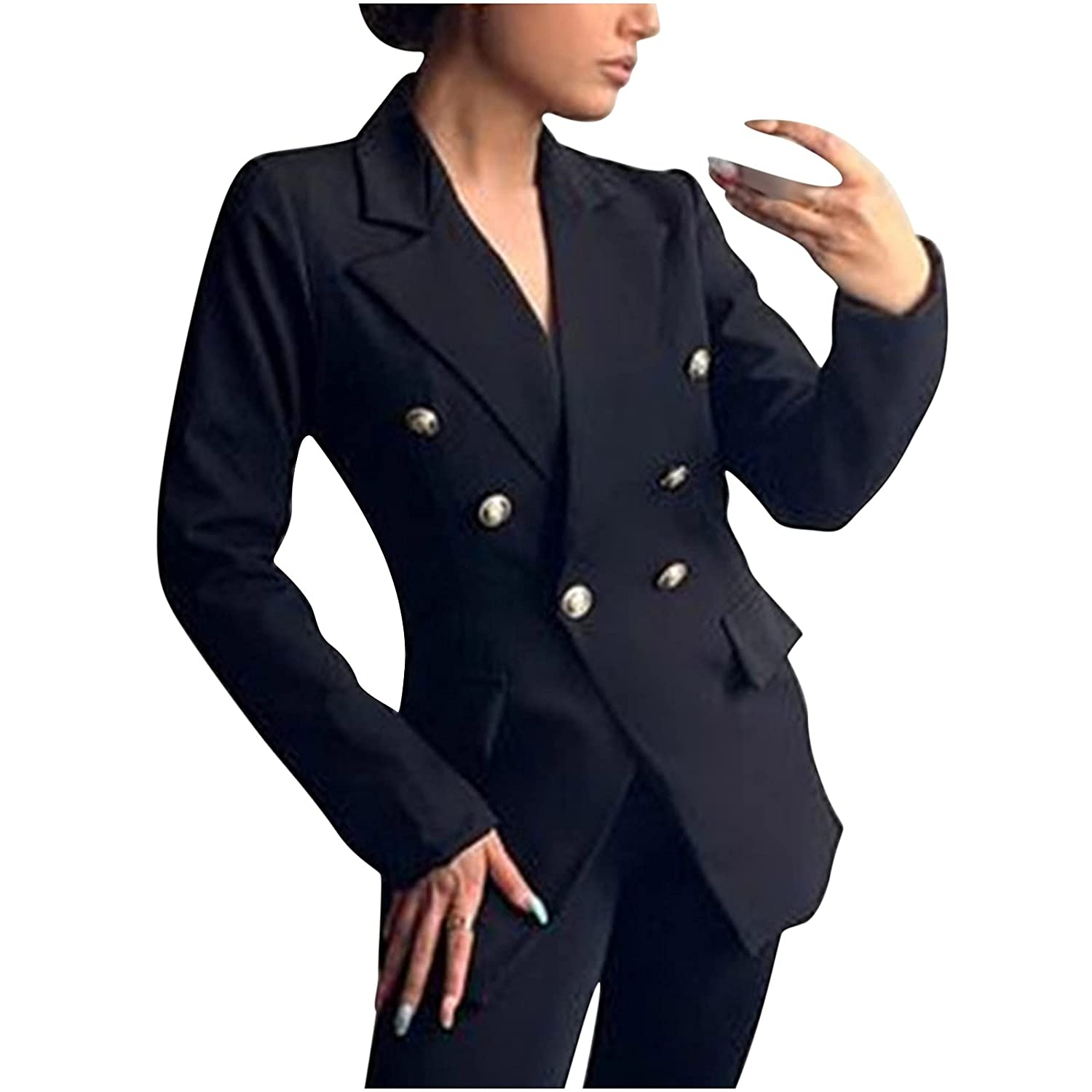 Autumn Women's Long-Sleeved Max 71% OFF Slim Suit Double-Breasted Some reservation mid-Length