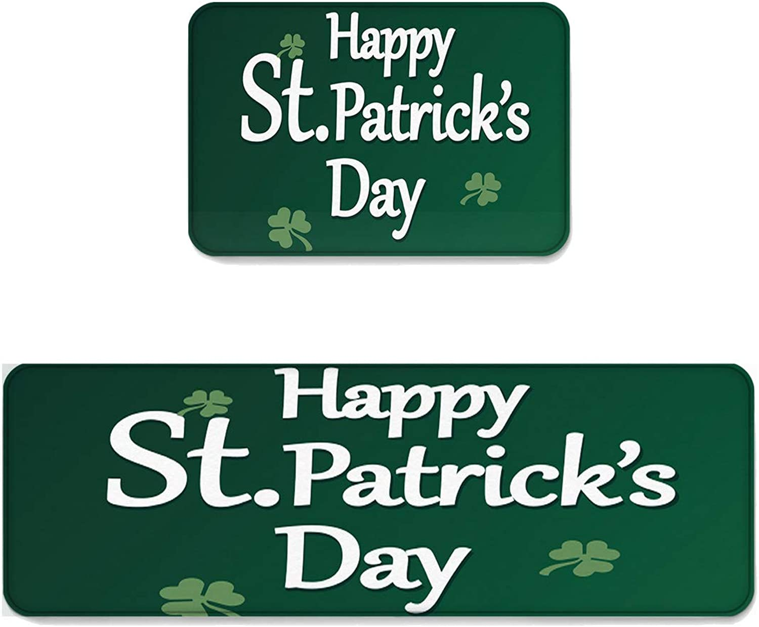 Kitchen Rug Sets 2 Piece Floor Mats Non-Slip Rubber Backing Area Rugs White Letters St Patrick's Day on Green Background Doormat Washable Carpet Inside Door Mat Pad Sets (19.7  x 31.5 +19.7  x 47.2 )