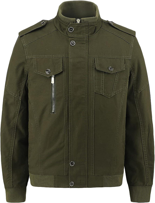 Ywbaw Men's Workwear Jacket, Hoodless Zipper Flight Suit, Solid Color Cotton Jacket