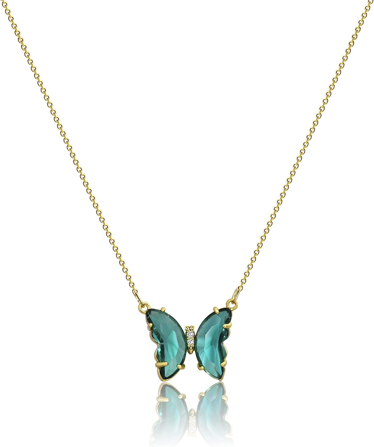 Carovo Dainty Gold Moon Star Pendant Necklace 18K Gold Filled Cute Delicate Butterfly Heart Evil Eye Italian Horn Cornicello Protection Necklaces Minimalist Charm Jewelry Gift for Women