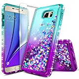 Galaxy S7 Case with Tempered Glass Screen Protector for Girls Women Kids, NageBee Glitter Liquid Sparkle Bling Floating Waterfall Diamond Shockproof Cute Case for Samsung Galaxy S7 -Aqua/Purple