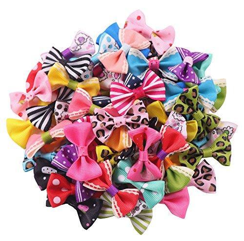 YAKA 60 unidades (30 pares) de cinta de grogrén de 1.5 pulgadas Mini pajaritas para manualidades de rosas para el pelo de boda, decoración de 30 colores (estilo1)