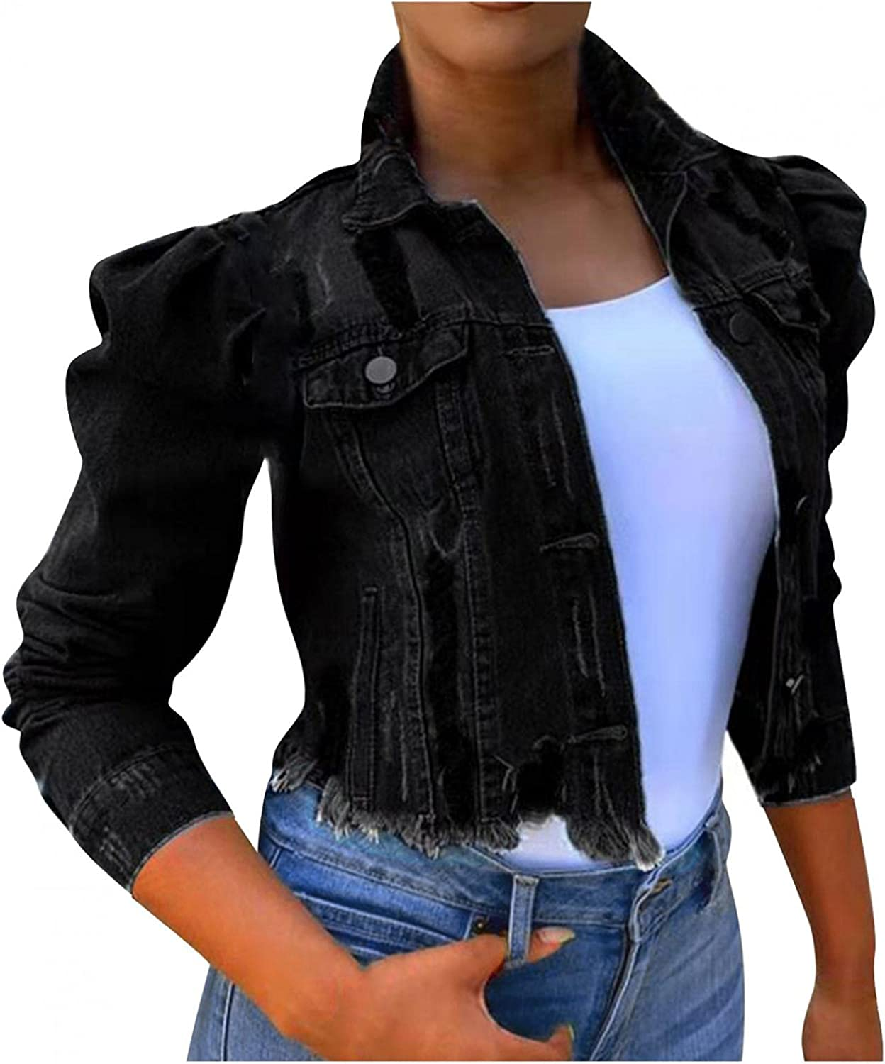 SUIQU Jean Jacket for Women Ripped Long Puff Sleeve Destroyed Button Down Cropped Jacket Coat Crop Denim Jackets Top