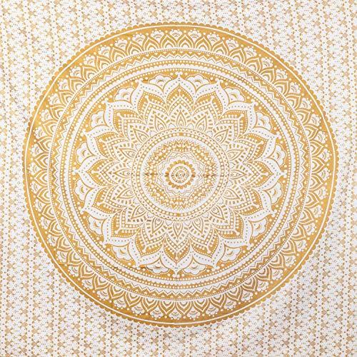 MOMOMUS Mandala Wandteppich - 100% Baumwolle, Groß, Mehrzweck - Wandtuch, Strandtuch XXL, Pareo Tuch - Stranddecke Sandfrei 210x230 cm, weiß / Gold