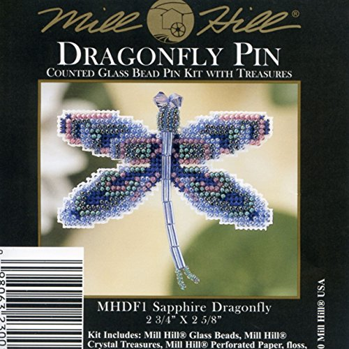 Sapphire Dragonfly Beaded Counted Cross Stitch Ornament Kit Mill Hill 2000 Spring Bouquet MHDF1
