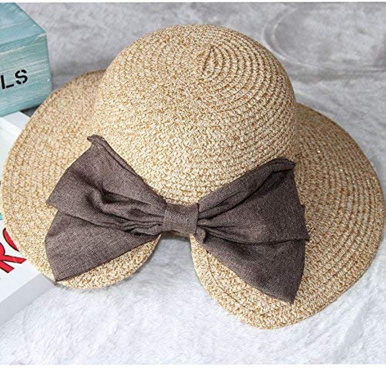 Dingkun Fashion bow straw hat visor hat lady holiday sunscreen summer sun hat female beach fisherman hat