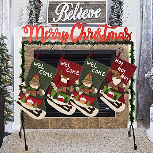 FORUP Metal Merry Christmas Stocking Holder Stand Hangers
