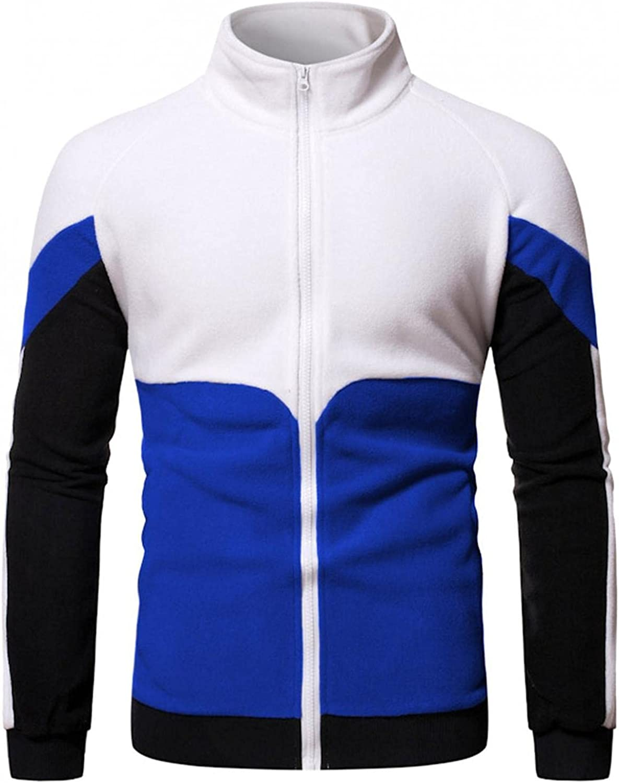Hoodies for Men Mens Casual Color Block Sweatshirt Stand Collar Mens Zip Up Hoodies Cardigan Fashion Hoodies And Sweatshirt