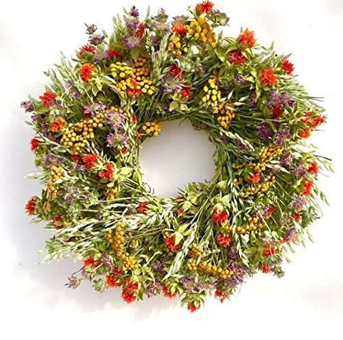Garden Carnival All Natural Summer Dried Floral Wreath. Hand Made in The USA 22 Inch