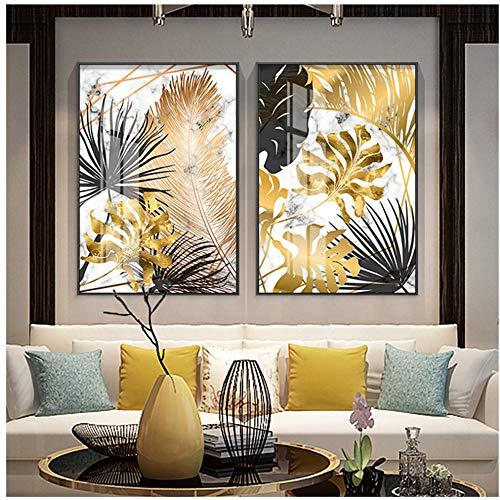 Arte de pared de lona Carteles de pintura de lona de hoja dorada e impresión moderna decoración cuadros de arte de pared para sala de estar dormitorio comedor-60x80cm Sin Marco