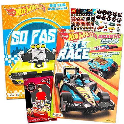 Hot Wheels Coloring Book Set -- Coloring Book, Temporary Tattoos and Bonus Stickers Party Supplies