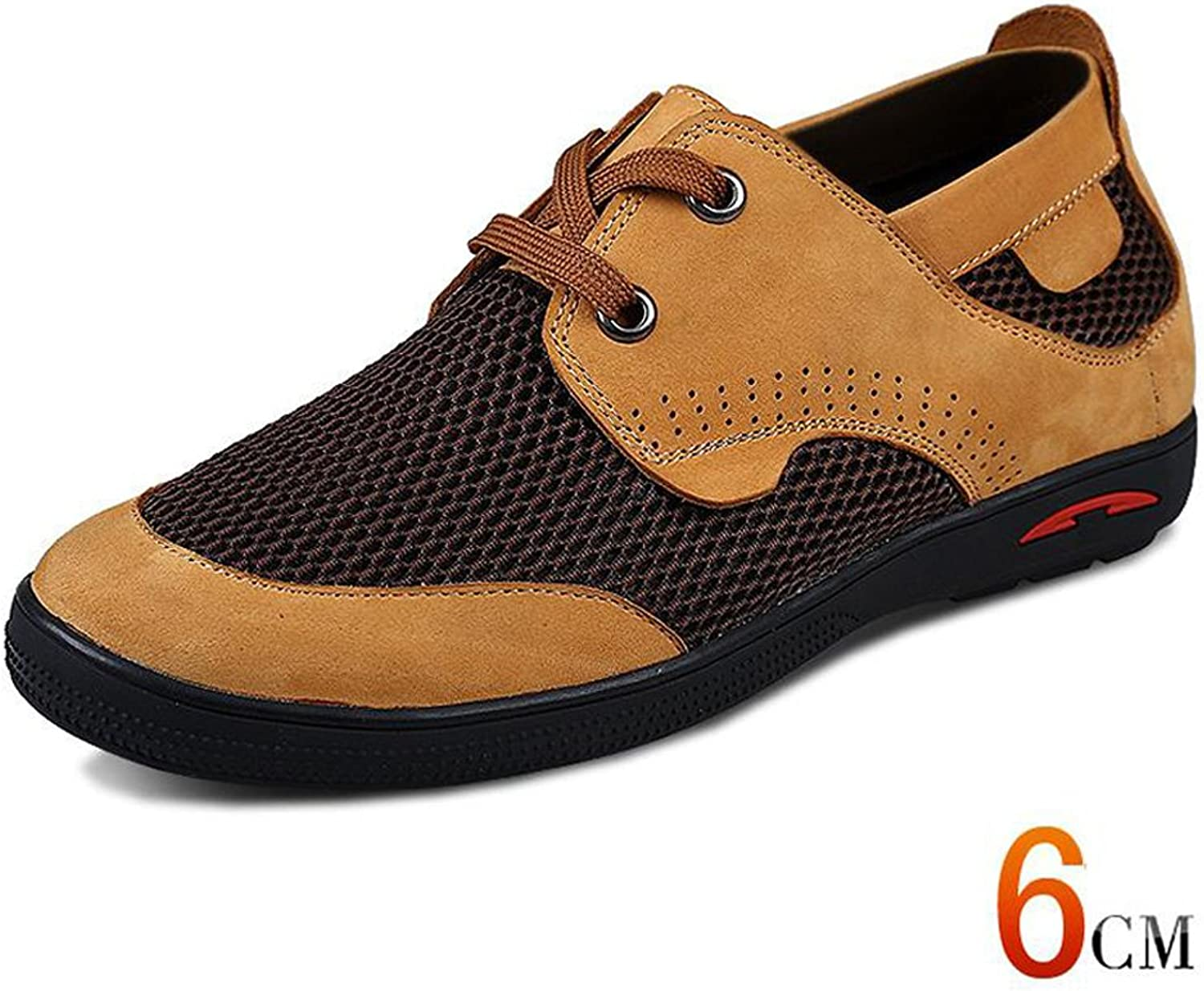 SXD 2.36 Inches Taller Men's Breathable Casual Leather Mesh shoes