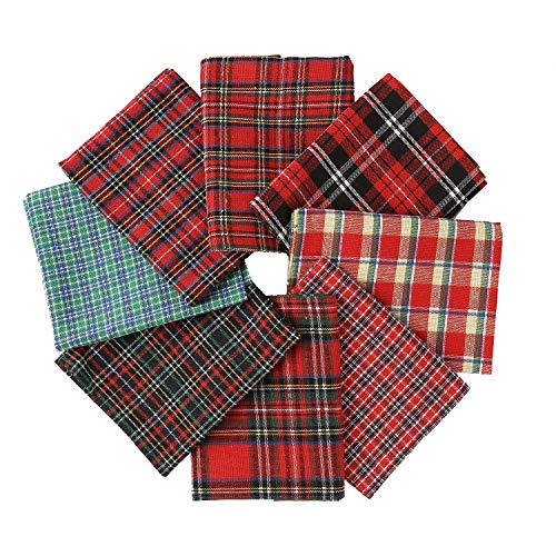 Cotton Fabric Tartan Christmas Patterns - Selection of 8 Pieces of Different Plaids for Crafts   DIY   Sewing   Scrapbooking   Quilting   Patchwork   Facial Masks and More 21.3 x 17.7 Inches