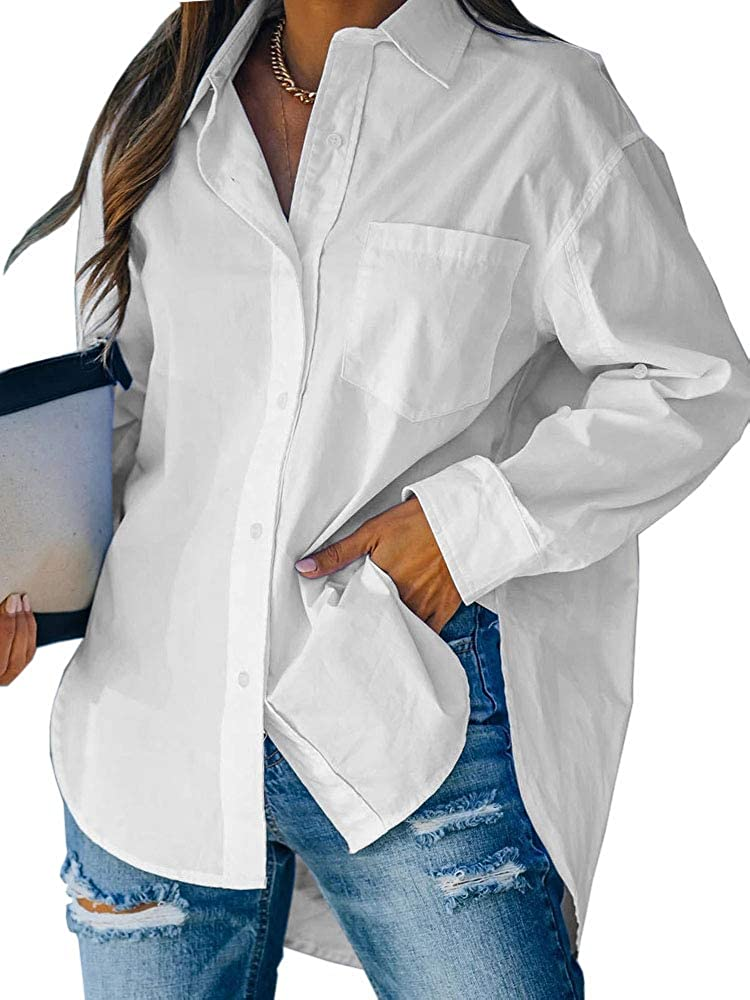 Cicy Bell Women's Button Down V Neck Shirts Long Sleeve Blouse Roll Up Cuffed Sleeve Casual Plain Tops with Pocket